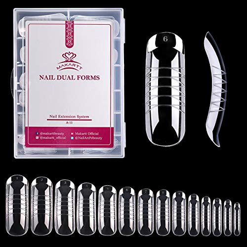 Makartt 140PCS/Case Poly Nail Extension Gel Dual Forms Nail Builder Extension Gel Nail Mold Clear Full Cover False Nail Tips Dual Forms Acrylic Nail Forms with Scale A-11