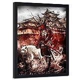 carowall CAROWALL.COM Imagen con Marco Negro japonés Cuadro Poster Abstracto Rojo 50x70 cm