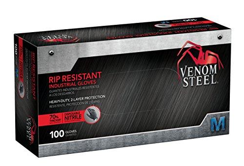 Venom Steel Nitrile Gloves, Rip Resistant Disposable Latex Free Black Gloves, 2 Layer Gloves, 6 mil Thick,  Medium (Pack of 100)