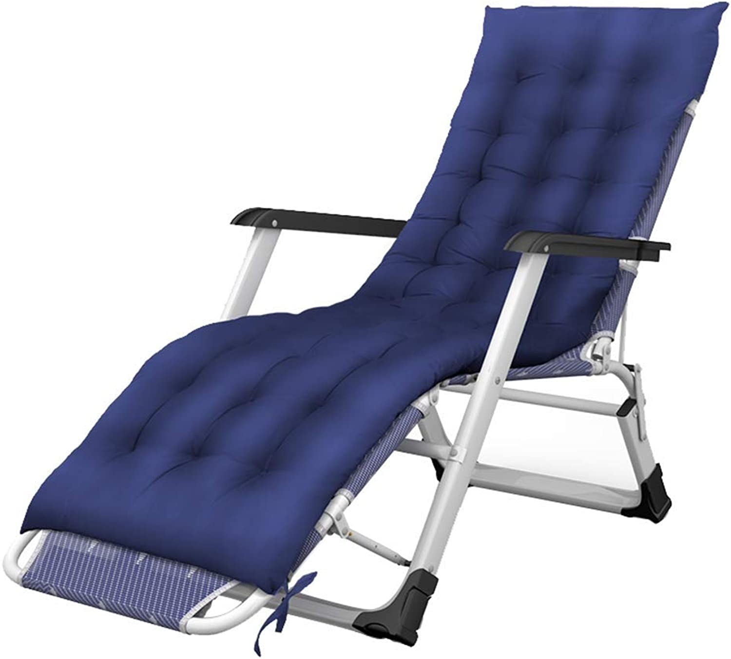 Qing MEI Recliner Home Foldable Backrest Armchair Adjustable Lazy Lounge Chair Beach Camping Bathing Sun Lounger (color   bluee)