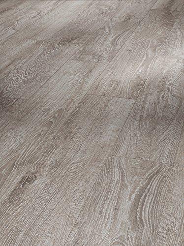 Parador Klick Laminat Bodenbelag Basic 200 Eiche Lichtgrau Landhausdiele Seidenmatte Struktur Fuge 2,742m² hochwertige Holzoptik hell grau, 7 mm, einfache Verlegung