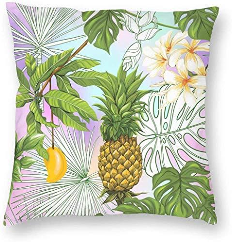 BONRI Cozy Throw Pillow Cover Piña y Mango Funda de Almohada Cuadrada Decorativa con Fondo de Vainilla Funda de cojín para Dormitorio, Sala de Estar, sofá, sofá y Cama, 22 x 22 Pulgadas