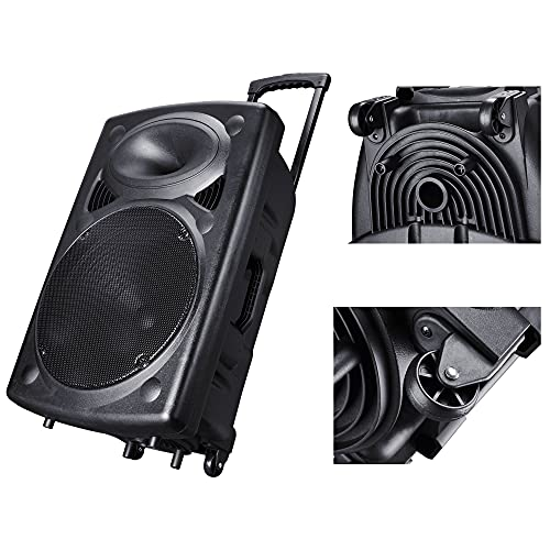 aw speaker stands Porable PA 15 inch Speaker with Wireless Microphone Sound System Amplifier and Bluetooth