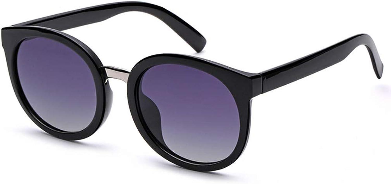 Polarized Sunglasses Women's Round Face Korean Wave Retro Harajuku Wind Glasses Street Shooting Sunglasses (color   Black)