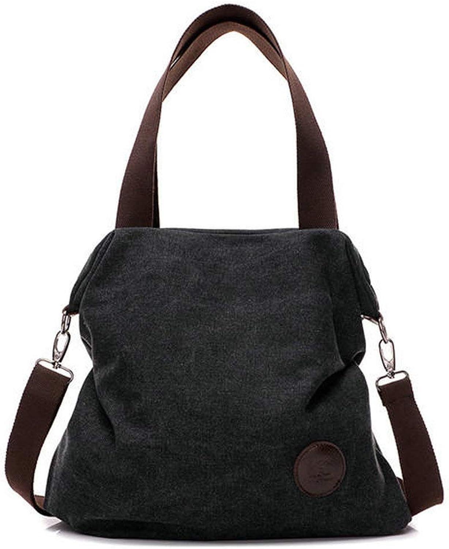 ACHKL Women Canvas Shoulder Bags Vintage Tote Handbags Capacity Shopping Crossbody Bags ACHKL (color   color Black, Size   OneSize)
