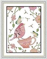 クロスステッチキット,DIY 手工刺绣套件アート11CT印刷十字绣 パターン スタンプ刺繍スターターキット,ピンクの鳥,家庭刺繍装飾品,手作りホリデーギフト-16×20インチ