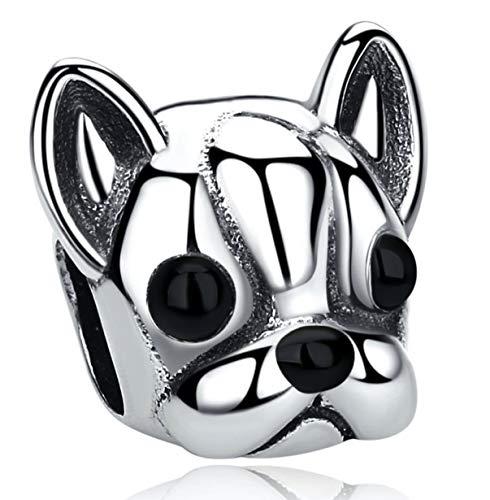 Bolenvi Boston Terrier Bulldog Dog Head 925 Sterling Silver Charm Bead for Pandora & Similar Charm Bracelets or Necklaces