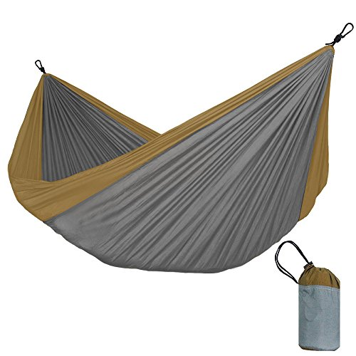 KNJF Portable Double Camping Hammock Single and Double Hammock Equipment for Survival or Travel in Outdoor Backpack-portable Lightweight Nylon Multiple Colors (Color : Gray)