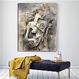 KWzEQ Chica Abstracta del Famoso Pintor sobre Lienzo póster impresión Arte de la Pared decoración Moderna del hogar,Pintura sin Marco,60x75cm
