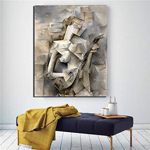 KWzEQ Chica Abstracta del Famoso Pintor sobre Lienzo póster impresión Arte de la Pared decoración Moderna del hogar,Pintura sin Marco,70x90cm