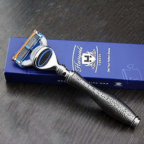 Haryali London Silver Antique Design 5 Edge Compatible Rasoir avec Poignée En Acier Inoxydable Rasage Rasoir Pour Homme