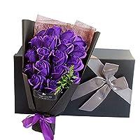 ソープフラワー 母の日 花 LangRay 花束 造花 プレゼント ギフト 石鹼花 石鹼フラワー 贈り物 ギフト 敬老の日 開店祝い 誕生日 記念日 お見舞い 感謝 お礼 ギフトボックス(紫)