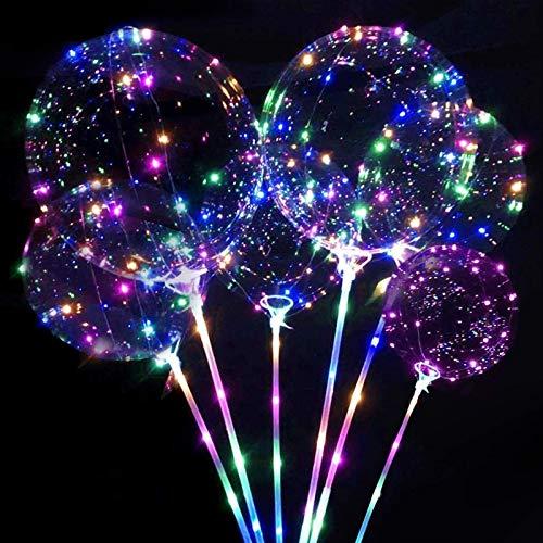 6 globos luminosos, globos de helio con soporte, LED con varilla, globos de colores para Navidad y boda, Halloween, celebraciones