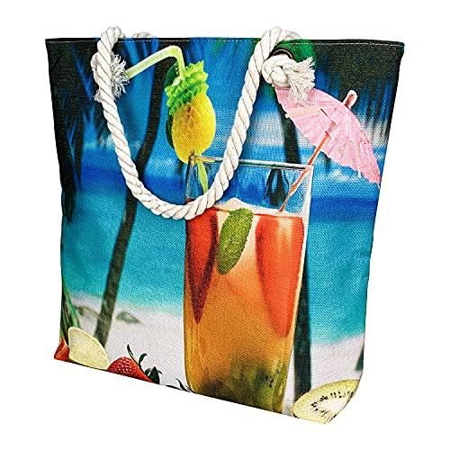 Bolsa de Playa para Mujer, Bolsa Playa Grande con Cremallera, Totalizador de Lona de Verano Bolso Shopping Bolso de Hombro para Playa, Natación, Camping, Vacaciones Familiares