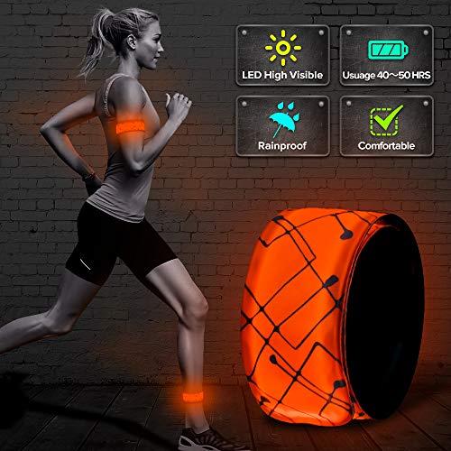 ELANOX LED Armband Leuchtband für Sport Outdoor Reflektorband Sicherheitslicht Slap Band für Fahrradfahren Joggen Kinderwagen (1 St. orange)