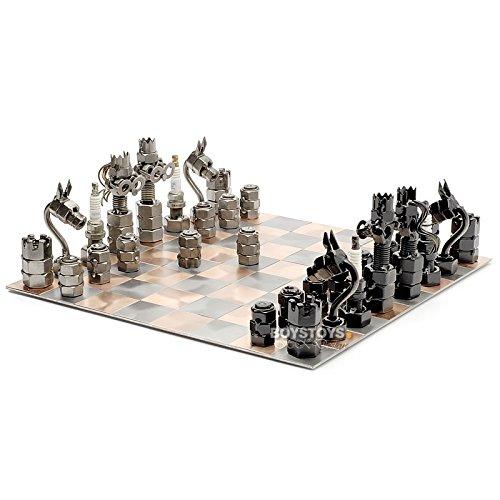 Metall-Design Schachspiel Schachbrett & Figuren
