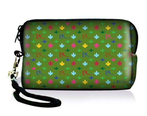 Luxburg® Design Universal cameratas hoes sleeve case voor compacte digitale camera, motief: LX patroon groen