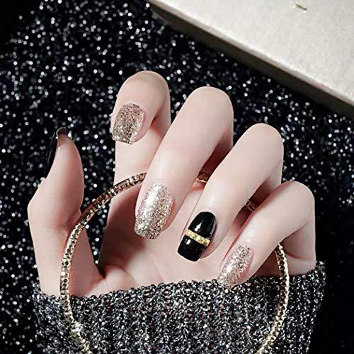 Fdesigner Fashion False Nail Tips Shimmer Fake Nails Long Press on Nails Full Cover Acrylic Nail Art Square Glossy Instant Nail Decoration Hand Accessories for Women and Girls 24PCS