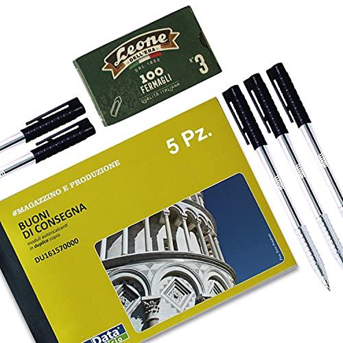 Fecha Oficina 5 Blocs Buoni entrega doble copia + Bolígrafo + 100 grapas León Made in Italy - Blocs de recibos genéricos - Blocs numerados - Ddt transporte doble copia - Papel copiativo