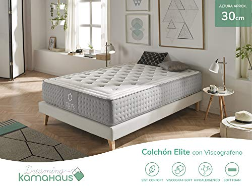 Dreaming Kamahaus Elite Colchón, con Viscografeno-Soft, Blanco, 135x190