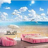 カスタム任意のサイズハワイアンビーチスプレー海景写真壁画壁布リビングルームテレビソファ家の装飾防水3D壁紙-280X200CM