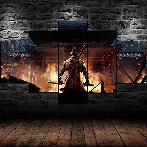WJWORLD 5 panelen canvas schilderijen muur abstract achtergrond schilderijen schilderijen kunst op canvas kunstdruk afbeeldingen hoofddecoratie Shadow Dead twee keer spel 20x35cmx2,20x45cmx2,20x55cmx1 Frame