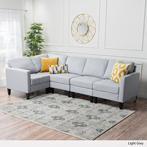 Christopher Knight Home Carolina Tufted Fabric Sectional Sofa | in Light Grey