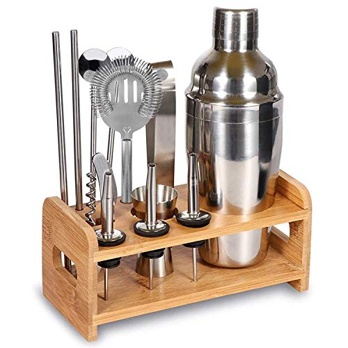 ACEBON Bartender Kit, 13 Pcs Cocktail Shaker Stainless Steel Gift Set, 24oz Perfect Home Bar Tools with Shaker, Strainer, Opener, Measuring Jigger, Tongs, Pourers, Spoon, Straw