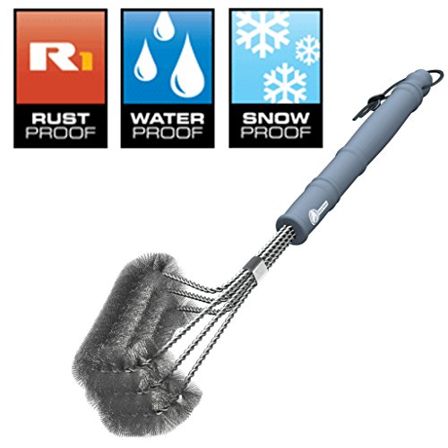 """Cave Tools BBQ Grill Brush - New & Improved 100% Rust Proof Design - Stainless Steel Wire Bristle with Strength Clip for Cleaning Char Broil Weber Porcelain and Infrared Barbecue Grates - 18"""" Handle"""