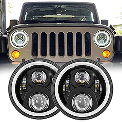 7 Inch LED Halo Headlights H6024 Headlamps Replacement LED Round Headlights High/Low Beam With Turn Signal Amber White DRL Compatible with 2007-2017 Jeep Wrangler JK JKU -1 Pair Black