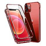 MOSSTAR Funda Compatible con iPhone 12 Pro MAX 6,7',360 Grados Carcasa Completa, Adsorción Magnética, Marco de Metal, con Protector de Pantalla Incorporado, Cristal Templado Transparente Case,Rojo