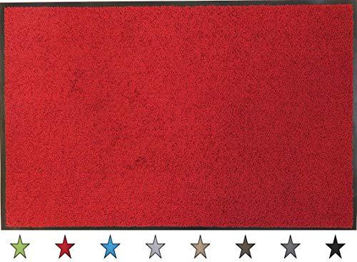 """oKu-Tex Fußmatte   Schmutzfangmatte   """"Eco-Clean""""  Rot   Recycling-Gummi   für innen   Eingangsbereich / Haustür / Treppenhaus / Flur   rutschfest   60x90 cm"""
