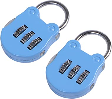 Eagle 3-Digit Combination Padlock, Luggage Lock, Resettable Code Lock, Small, Ideal for Suitcase, Lockers, Portable, Blue, 2-Pack