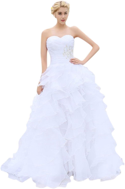 Beading Ruffles Women's Wedding Dress Organza Wedding Dresses for Brides 2017