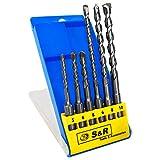 S&R Brocas SDS Plus Pared Hormigón, Juego Brocas SDS Plus 6 piezas: 5,6,8 x 110mm; 6, 8, 10 x 160 mm para el hormigón, el granito, Piedra. En caja de plástico