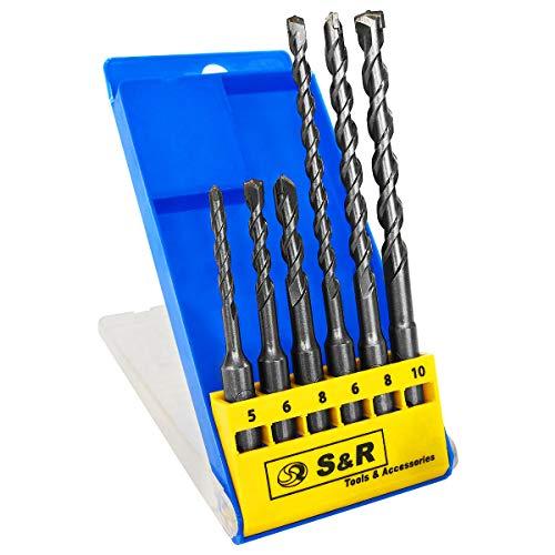 S&R Hammerbohrer, SDS Bohrer Set für Bohrhammer, 6-teilig: 5,6,8 x 110 mm; 6, 8, 10 x 160 mm für Beton, Granit, Stein