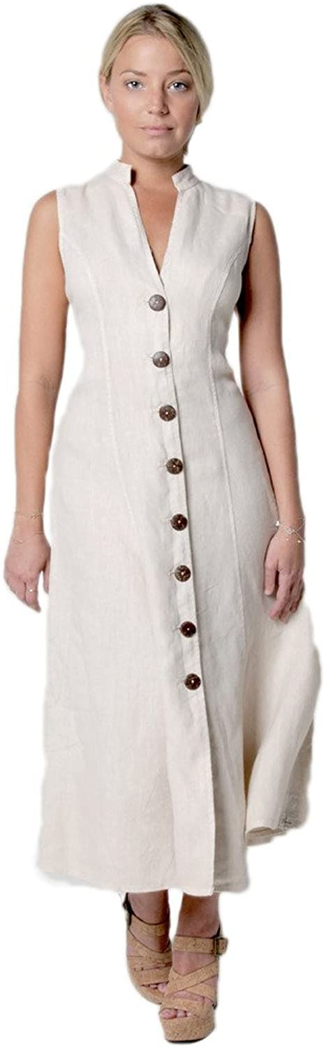 Claudio Milano Women's 100% Linen Dress with Wooden Button and Moa Collar