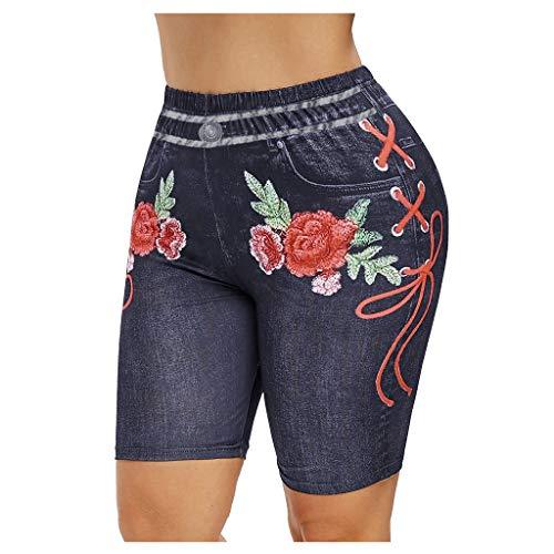 Leggings Yoga Shorts Damen Basic Slip Bike Shorts Compression Workout Damen Bedruckte Leggings Sportstrumpfhose (3XL,Schwarz)