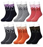 Eocom 6 Pairs Children's Winter Warm Wool Socks Kids Boys Girls Socks (4-7 Years, Cat)
