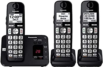 Panasonic DECT 6.0 Expandable Cordless Phone System with Answering Machine and Call Blocking - 3 Handsets - KX-TGE433B  Black