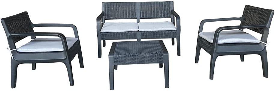 NATUUR Conjunto de Muebles de jardín Frutillar en plástico. 65.9 x 61 x 75.5cm. 2 Sofas Individuales, 1 Sofa Doble y Mesa de 65.9x61.5x37.5. Incluye Cojines