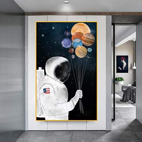 PLjVU Astronauta Globo Espacio sueño Nave Espacial Pintura al óleo Lienzo Mural Sala de Estar Cartel y Pared de Fotos decoración del hogar-Sin marco40X65cm