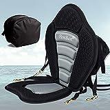 penban Deluxe Padded Kayak Seat Fishing Boat Seat with Storage Bag,Detachable Universal Paddle Board Seat,Adjustable Kayak Seats,Fitting for Kayak,sup and Canoe etc(1 pc Black/Gray)