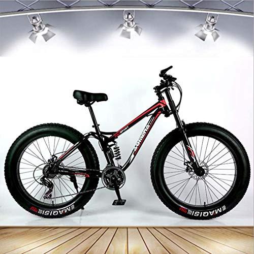 Adult Fat Tire Mountain Bike, Snow Bike, Double Disc Brake Cruiser Bikes, Beach Bicycle 26 Inch Wheels,A