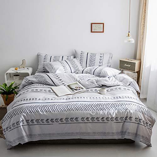 Geometric Duvet Cover Queen Black White Triangle Arrow Herringbone Pattern Full Bedding Set Cotton Geometric Comforter Cover Hotel Quality Stripe Duvet Cover with 2 Pillowcases Modern Bedding Set
