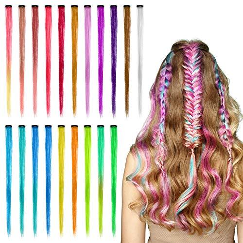 Heyu-Lotus 20 Stück Farbiger Haarverlängerung Clips, Regenbogen Gerade Synthetische Haarverlängerungen Kit für Kinder Mädchen Frauen
