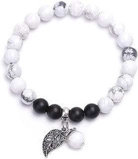 Fusamk Yoga 8MM Lava Rock Agate Turquoise Beads Bracelet Natural Stone Leaf Charm Bracelet