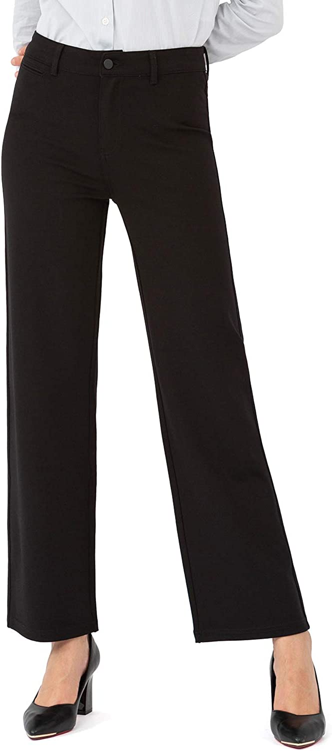 Balleay Art Wide Leg Dress Pants for Women Work Casual Stretchy Comfy Classic Fit Pants with Pockets