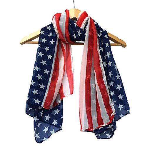 BZAHW 2017 Mujeres Moda Suave Seda Gasa Bandera Americana Bufanda Abrigo Chal señoras Bufandas pañuelos Vestidos de Moda Blusas