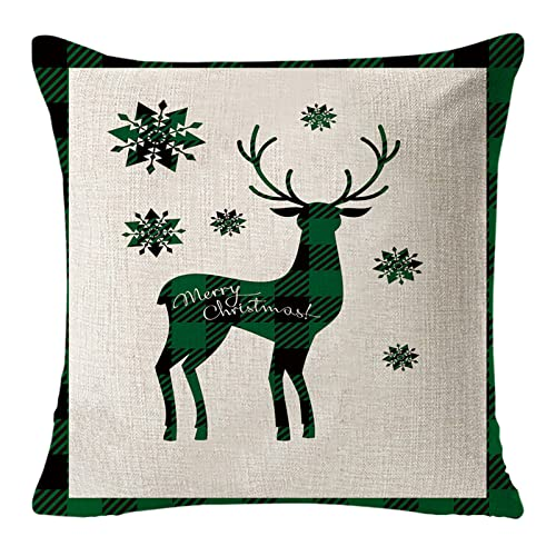 Funda de almohada de lino de Navidad con diseño de copo de nieve de Elk Series Pillow Merry Christmas Sofá Sofá Funda de almohada para el hogar - 9